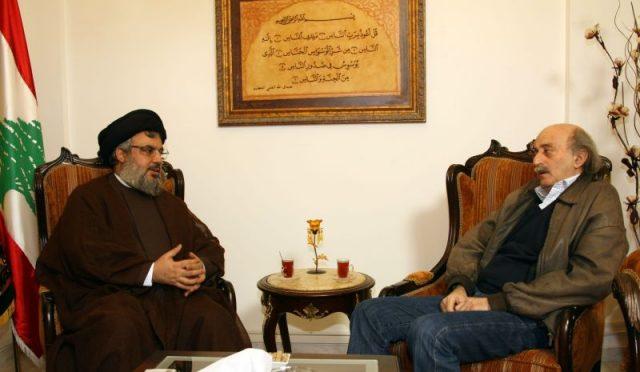 Hassan Nasrallah with Walid Jumblatt