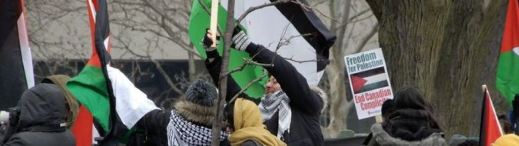 """Toronto protest: """"To Al-Quds [Jerusalem] we march martyrs by the millions"""""""