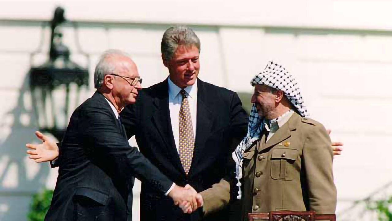 Bill Clinton, Yitzhak Rabin, Yasser Arafat at the White House