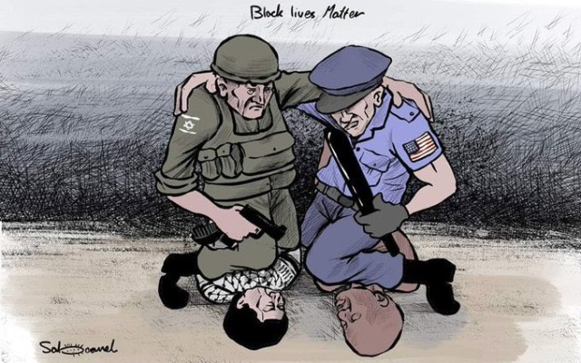 Cartoon accusation of U.S.-Israeli policy cooperation
