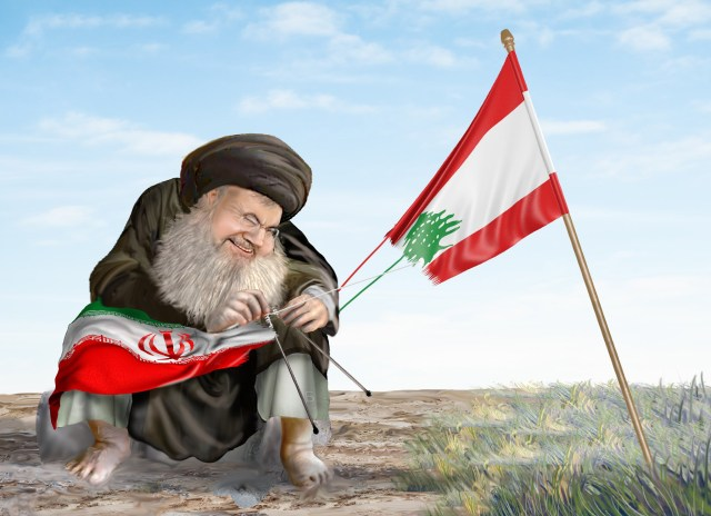 Hassan Nasrallah unravelling the Lebanese flag, reknitting it into the flag of Iran.