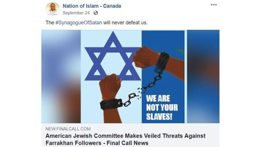 """Nation of Islam Canada: """"The Synagogue of Satan will never defeat us"""""""