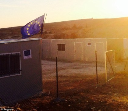 The European Union flag atop an illegally-build structure in the territories