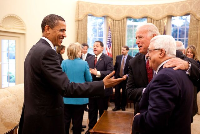 President Obama and Vice President Biden welcoming the PA's Mahmoud Abbas to the White House Oval Office