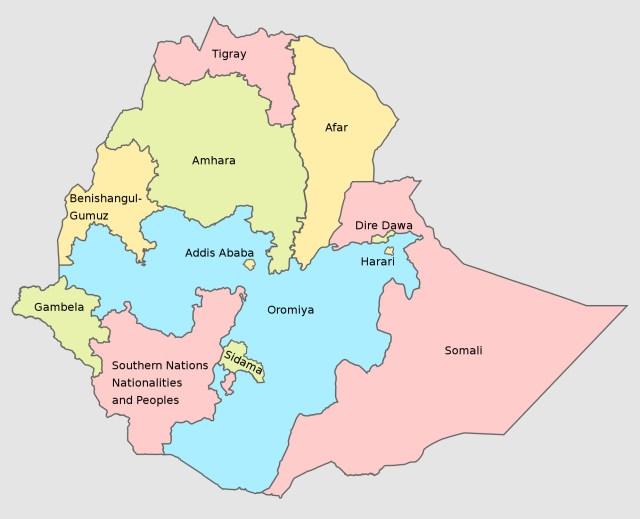 The regions of Ethiopia