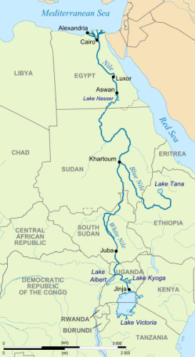 The paths of the White and Blue Nile Rivers