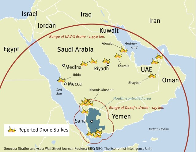 Strategic Reach of Houthi Drone Strikes