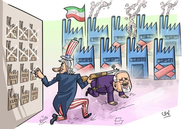 Anti-Zarif cartoon: He serves as a convenient prop for the American hunter targeting Iranian industry