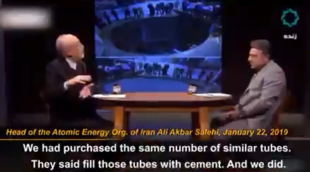 "Salehi pointing to the ""cemented"" reactor core"