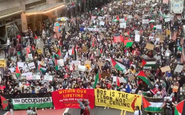 A pro-Palestinian protest in midtown Manhattan