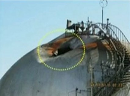 Damage at a Saudi oil facility at Abqaiq in 2019, caused by an Iranian drone attack