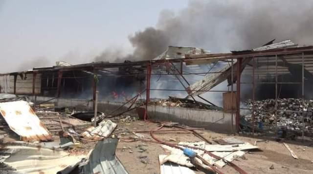 Damage to aid warehouses in the Yemeni port of Mocha
