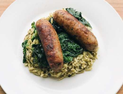 Smoked Mozzarella + Broccoli Rabe Turkey Sausage Bowl by JC Phelps (JCP Eats)