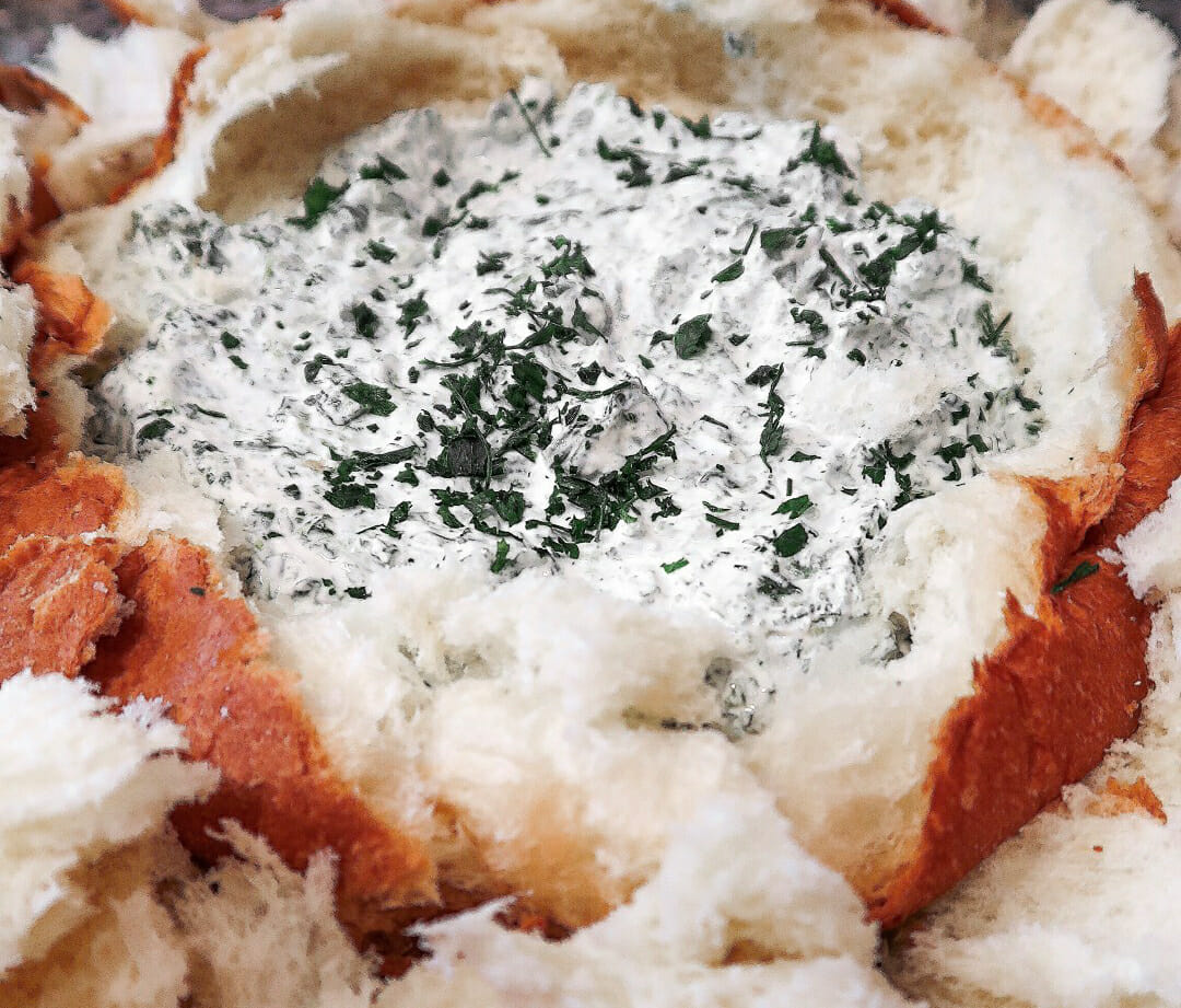 The Easiest Party Appetizer: Homemade Spinach Dip + Hawaiian Bread