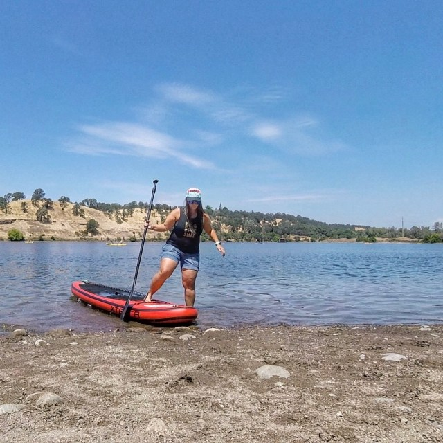 Stand up paddle board on Lake Natoma