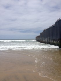 The wall going into the ocean.