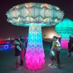 Mushroom art installation. These mushrooms would open up and bloom as you stepped on weight sensitive platforms.
