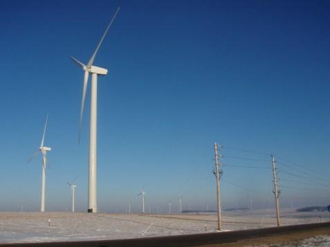 Minnesota Wind Turbines in Winter