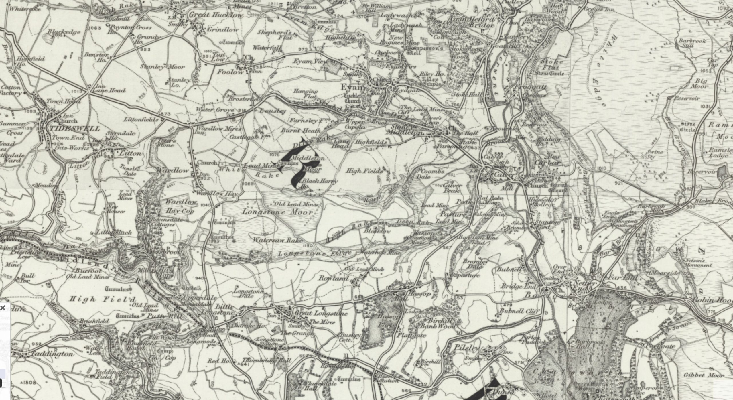 Map of Peak District in 19th century