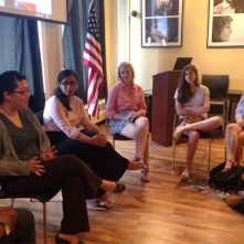 At CAIR-Chicago, Or Tzedek participants made presentations about voting and religious rights., together with CAIR-Chicago interns.