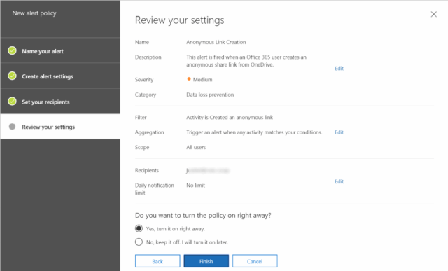 anonymous-link-created-alert-rule-004-1024x619 How to create Alert Policies in Office 365 Security & Compliance Center