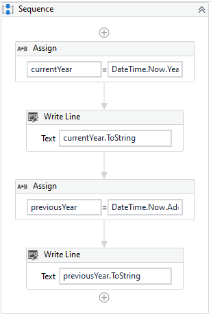 add writeline activity to print the previous year value