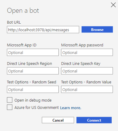 connect to the python bot by entering the bot url.