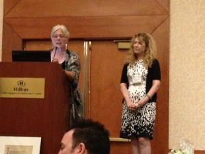 Pam Binder (PNWA President) and Sandy McCormack (PNWA Vice President) kick off announcement of literary contest winners