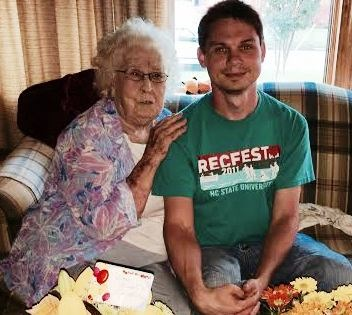 Fred with his Granny on her 89th birthday