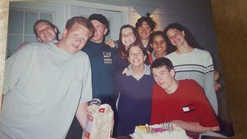 Lindsay and friends, circa 1995 at Fursty's Pizza in Reidsville, NC. Photo credit: Freeda Ahmed.