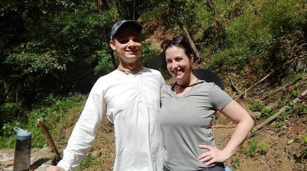 Fred and I at Douji Kund waterfall, Madhuvan, Costa Rica