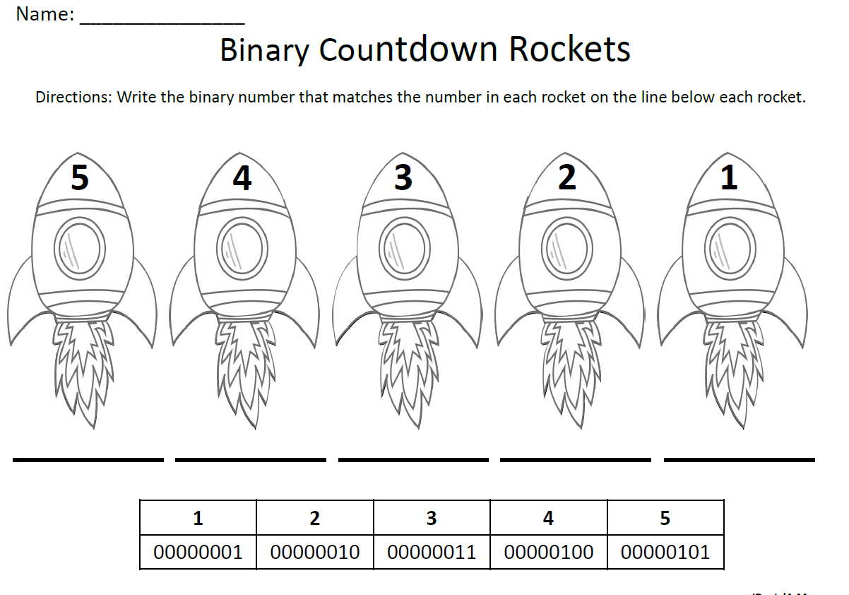 Binary Number Countdown Rockets