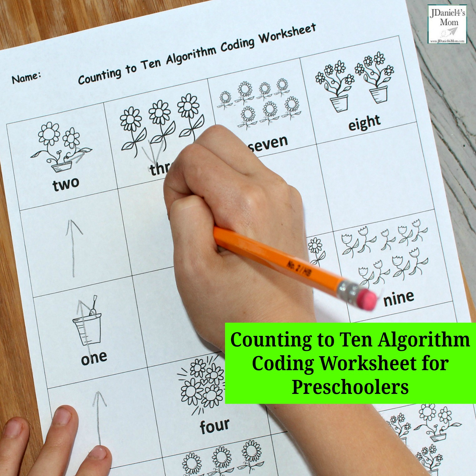 Counting To Ten Algorithm Coding Worksheet For Preschoolers