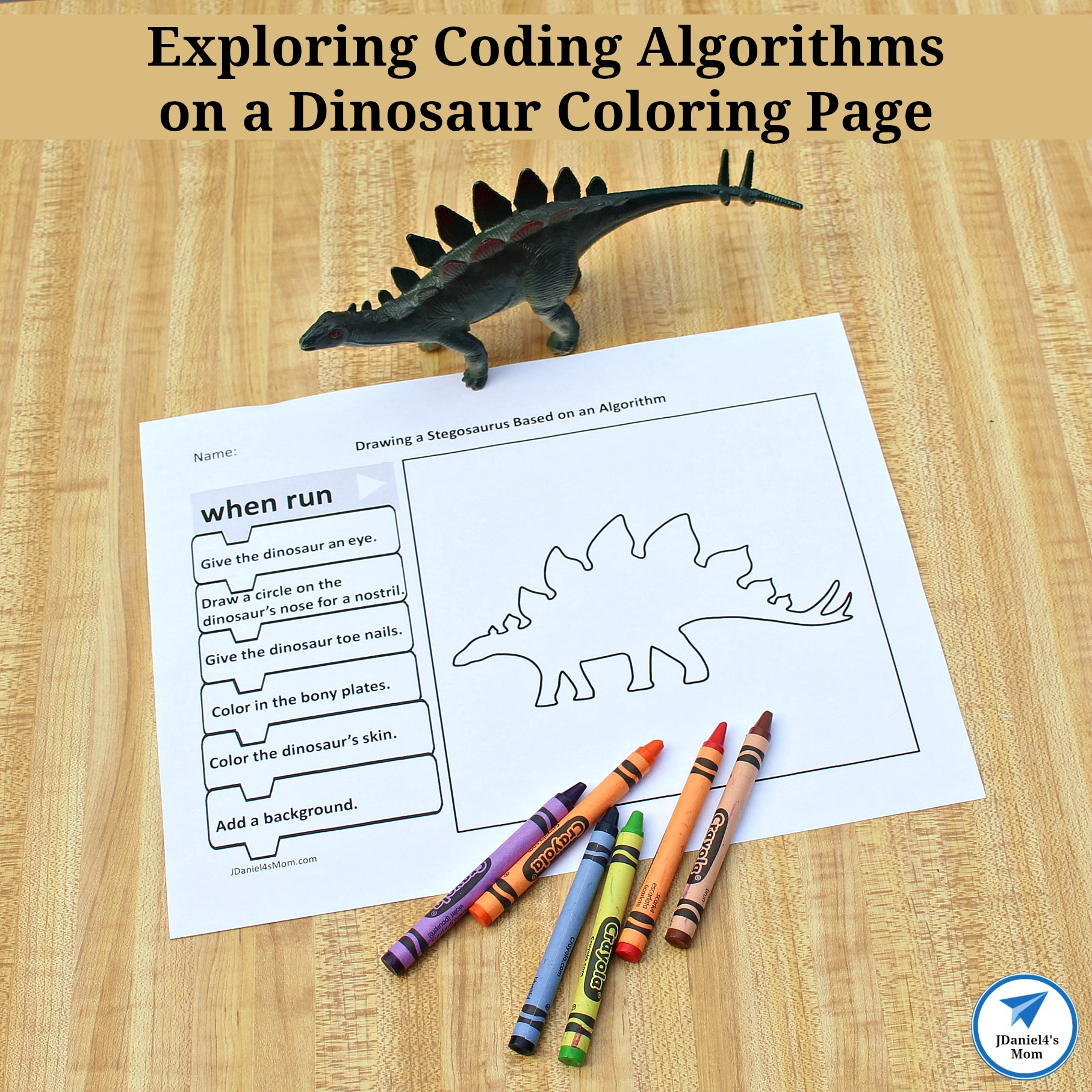 Exploring Coding Algorithms On A Dinosaur Coloring Page