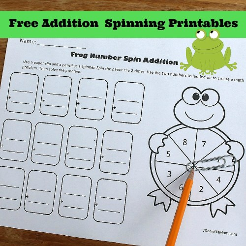 small resolution of Free One Digit Addition Spinning Printables