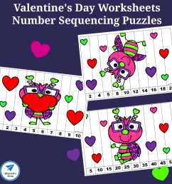 Valentine's Day Worksheets - Number Sequencing Puzzles - JDaniel4s Mom [ 2065 x 2065 Pixel ]