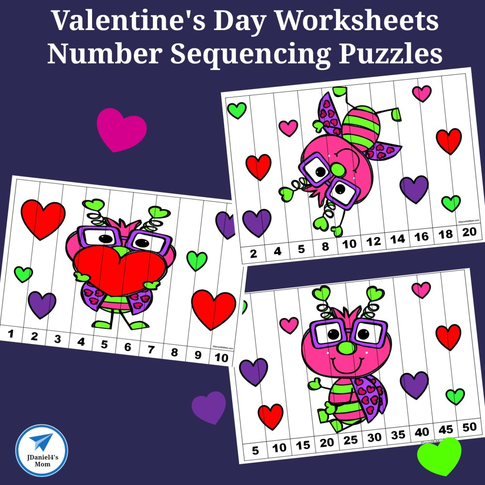 medium resolution of Valentine's Day Worksheets - Number Sequencing Puzzles - JDaniel4s Mom