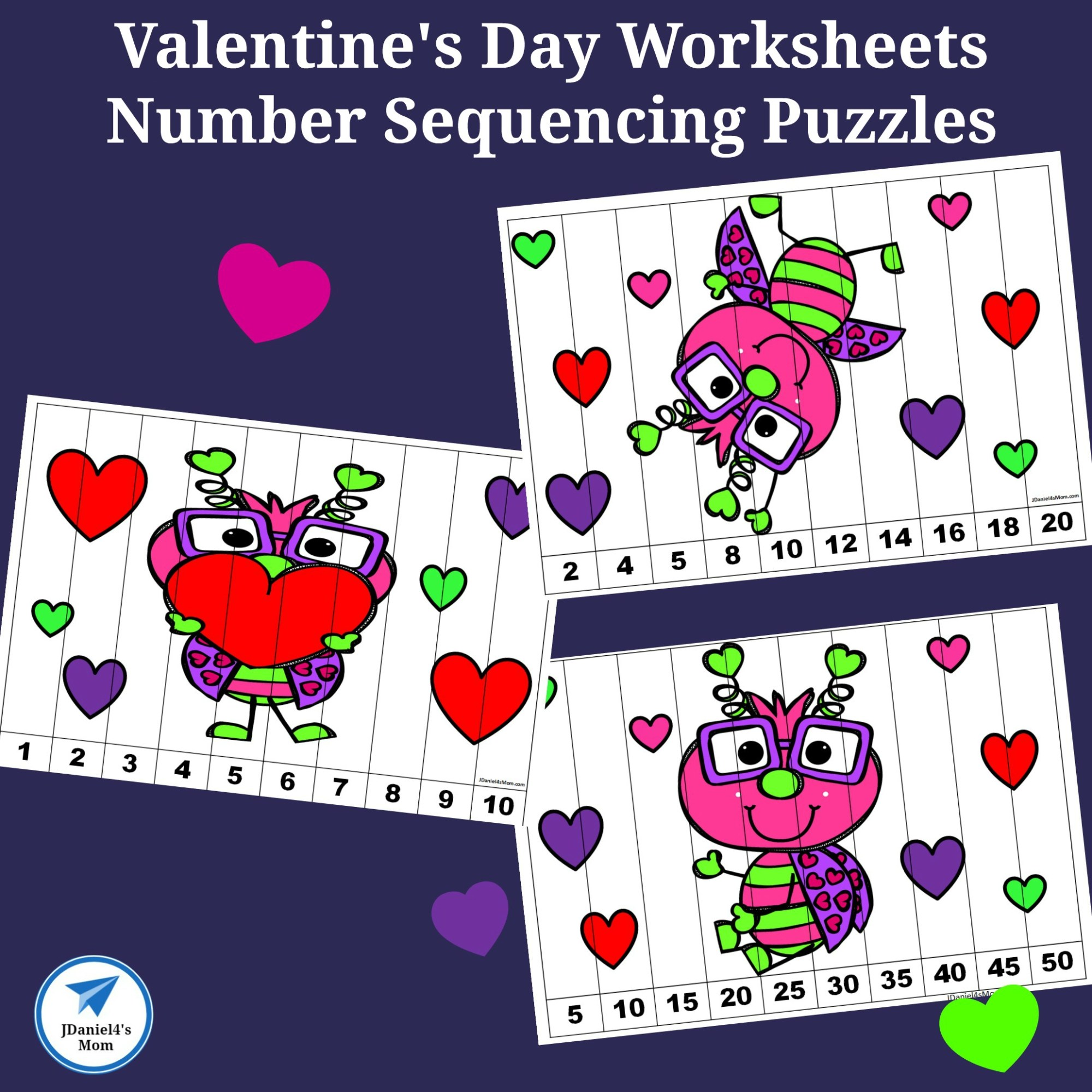 hight resolution of Valentine's Day Worksheets - Number Sequencing Puzzles - JDaniel4s Mom