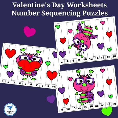 small resolution of Valentine's Day Worksheets - Number Sequencing Puzzles - JDaniel4s Mom