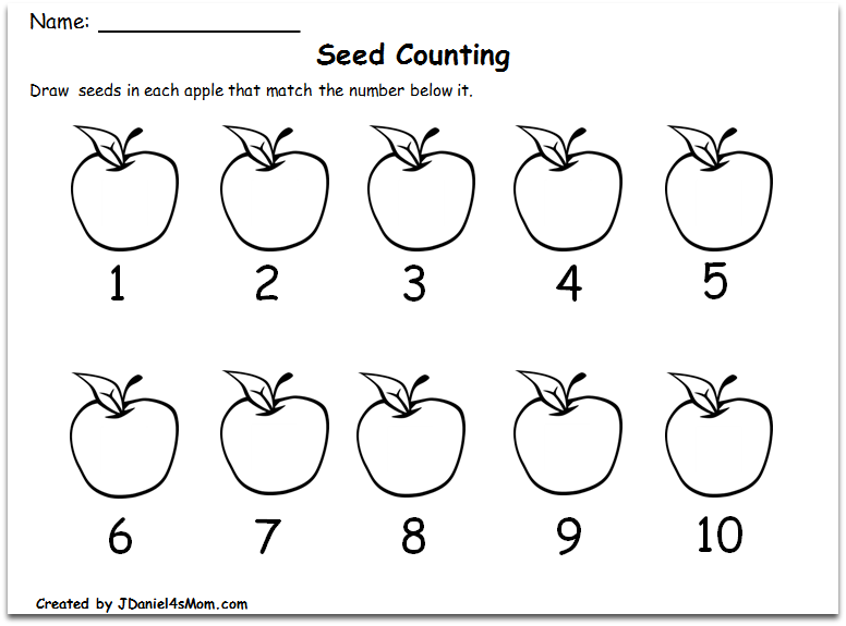 Counting Worksheets 1-10 with an Apple Theme