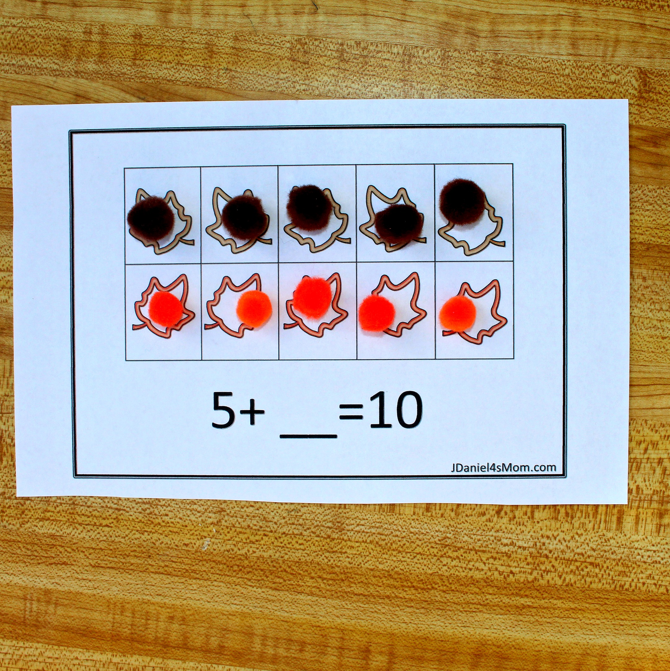 Fall Themed Free Ten Frame Addition Worksheets