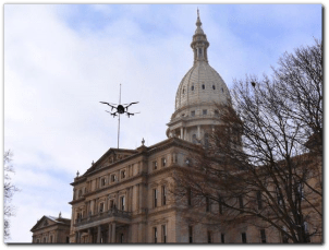 Michigan's Capitol buzzed by drone