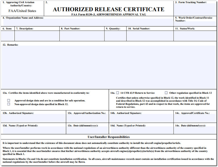 faa easa authorized release certificate