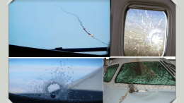 a panel of cracked windows