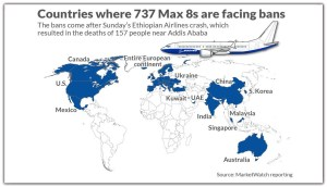 MAP OF COUNTRIES GROUNDED MAX 8