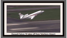 Falcon 8X departing from TEB