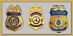 Justice, DOT and DHS badges