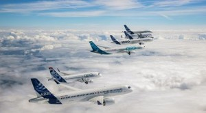 Airbus planes in V formation