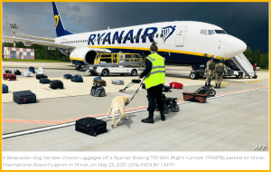 RyanAir passenger bags being searched