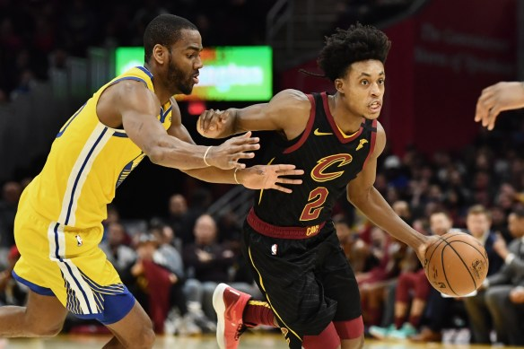 Feb 1, 2020; Cleveland, Ohio, USA; Cleveland Cavaliers guard Collin Sexton (2) drives to the basket against Golden State Warriors guard Alec Burks (20) during the second half at Rocket Mortgage FieldHouse. Mandatory Credit: Ken Blaze-USA TODAY Sports